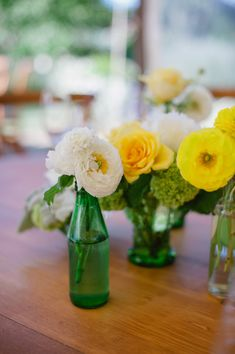 Casual Wedding Flowers - Posies - Bright Flowers in Found Containers. More on SMP: http://www.StyleMePretty.com/california-weddings/2014/05/30/music-inspired-sonoma-wedding/  //  JennaMariePhotography.com