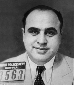 Al Capone's mugshot. Prohibition was a terrible idea, almost as bad as the war on drugs. What a waste of the taxpayers money.