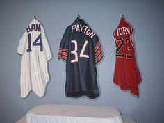 Jerseys painted onto the wall