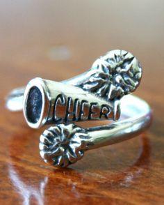 Cheerleader's Ring, Cheer Jewelry Gift, Sterling Silver Megaphone Pom Pom Cheerleading Ring (Adjustable Size). $33.00, via Etsy.