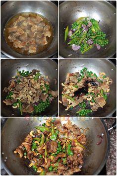 15-minute stir fried pork, peas and cashew nuts