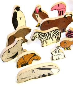 Vintage 21 piece wooden alphabet animals
