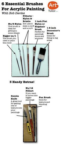 Acrylic Tools - types of brushes