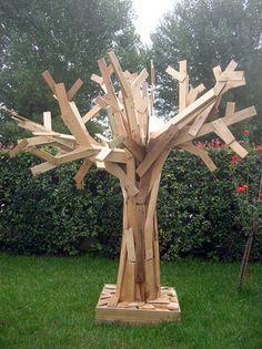 furniture arrangement, yard art, pallet tree, pallet furniture, tree art, pallet art, garden, old pallets, pallet wood
