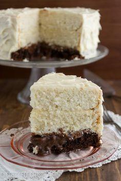 Vintage Brownie Surprise Cake | crazyforcrust.com