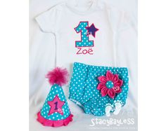 Party Outfit with Shirt, Diaper Cover, Party Hat, and Flower Pin in Pink, Purple and Teal Dot for Cake Smash or First Birthday - Baby - Girl on Etsy, $52.50