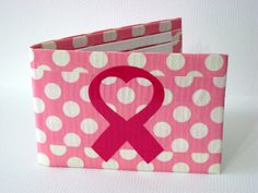 Duct Tape Wallet - Pink and White Polka Dots with Breast Cancer Awareness Ribbon. $9.00, via Etsy.