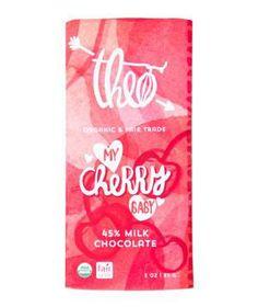 Theo Chocolate My Cherry Baby: Made with creamy 45 percent milk chocolate and dried cherries, this bar isn't just mouthwatering: It's also organic and fair trade. food recipes, milk chocol, cherri babi, foods, chocolates, valentine day, theo chocol, cherries, babi milk