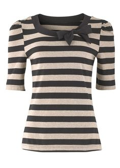 63. Black and White Striped Scoop Neck Shirt with Bow ------------------- Key: Ribbon, Black, White, Tops, Clothes