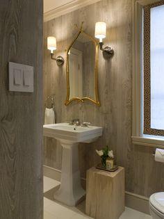 Benjamin Dhong bath, faux bois wallpaper by Nobilis.