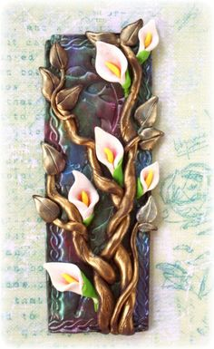 Polymer clay tile.  This is a design I made using polymer clay and mica powder ~ Gabrielle