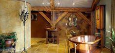 Wonderful Timber-Framed House Interior Designs: Awesome Master Bedroom Brass Bath Tub Modern Timber Framed Home