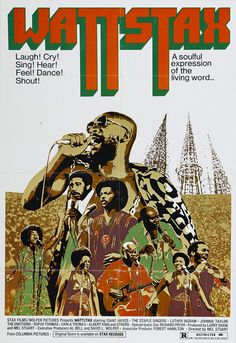 Wattstax (1973) Documentary recorded August 30, 1972 at the concert organized by Memphis' Stax Records to commemorate the seventh anniversary of the Watts riots, held at the Los Angeles Coliseum. Performers include The Dramatics, Kim Weston, The Emotions, William Bell, The Bar-Kays, Albert King, Little Milton, Johnnie Taylor, Mel and Tim, Carla & Rufus Thomas, Luther Ingram, and Isaac Hayes.