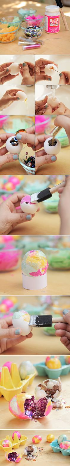 Cascarones Tutorial: This is the first time I've heard of these.  From Mexico- If broken over your head this glitter filled egg is supposed to bring you good luck. <3