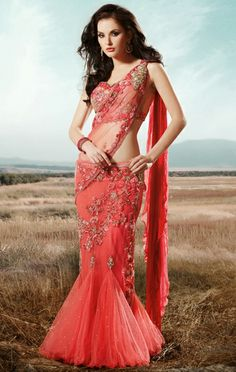 USD 236.22 Peach Net Wedding Lehenga Saree  30026