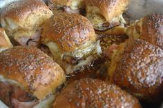 Sticky Sweet Ham, Swiss & Poppyseed Mini Sammies - perfect appy!