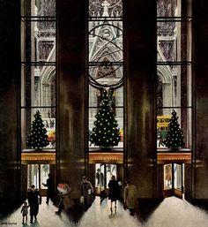 Rockefeller Center, art by John Falter. Detail from December 3, 1949 Saturday Evening Post cover.