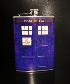 Police Box Flask by The Drunken Moogle ($19.99) #DoctorWho #TARDIS