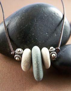 beach pebbles/leather