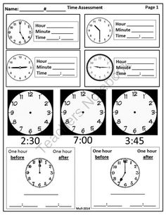 3rd Grade-Time Assessment from LCMS Hands On Design on TeachersNotebook.com -  (4 pages)  - The assessment includes time by the hour, half hour, quarter to, quarter after and elapsed time. I have included a variety of ways to match the time.