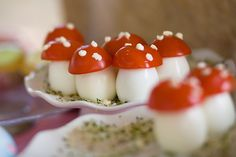 toadstool bite appetizers - hard boiled eggs, cherry tomatoes and feta cheese