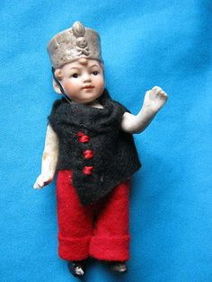 Antique bisque mignonette doll  soldier Imperial Guard- Germany  - 5""