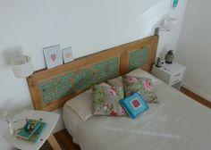 Respaldo de cama hecho con una puerta reciclada   Mi habitación - My bedroom