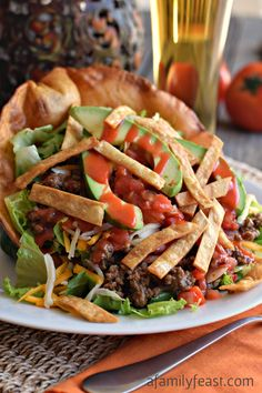 The best Taco Salad recipe - with a homemade Catalina Dressing that is outstanding!