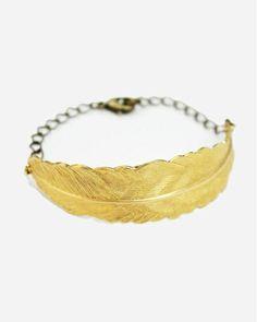 Brass Feather Bracelet - JewelMint