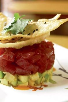 Ahi tuna tartare with crispy avocado, lemon grass, ginger jelly and ponzu is one of Boston restaurant The Bristol Lounge's bestselling dishes. Try it and see why.
