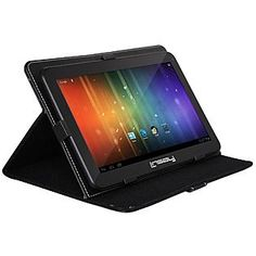 """LINSAY 10.1"""" NEW Capacitive Tablet Bundle w/ Google 1024X600 HD Android Jelly Bean 4.1 & Blended Leather Case-Sears"""