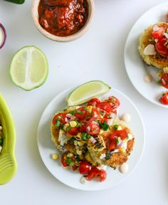 Mini Roasted Poblano Risotto Cakes with Grilled Corn Salsa