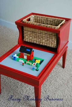 lego table with storage basket - I have no need for this at this stage in life, but what a clever idea for an old end table!