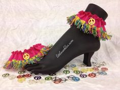 Funky Anklets! Peace Signs! Multi-Color Chenille Fringe with Peace Sign Charms on Hot Pink Grosgrain! (F4039p) by LittleAnkles for $17.99 #Zibbet