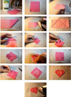 Fabric Origami Flower Heart tutorial