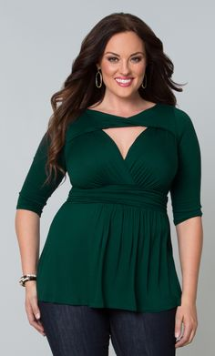 Our plus size Athena Twist Top flatters your décolletage and curves with a flowy silhouette and trendy cut-out design.  www.kiyonna.com  #KiyonnaPlusYou  #Plussize  #MadeintheUSA  #Kiyonna  #Green  #Trendy