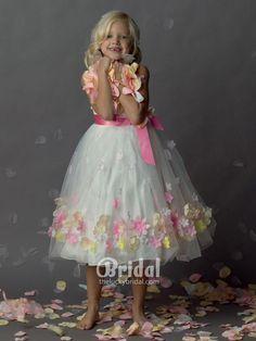sleeveless satin a line petal flower girl dress with sorbet flowers skirt
