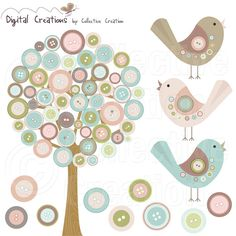Button Tree and Birds Digital Clip Art Set - Personal and Commercial Use