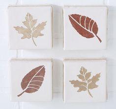 Easy DIY Leaf Stenciled Canvas Set. Canvas + Leaf Stencil + Acrylic Paint = Fall Decor