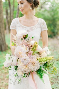 Bride with Dahlia Bouquet | photography by http://www.berrettphotography.com