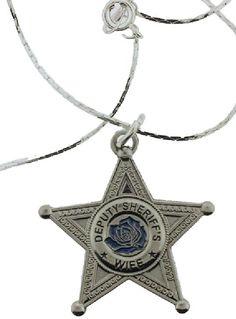 Deputy Sheriff's Wife Blue Rose Pendant