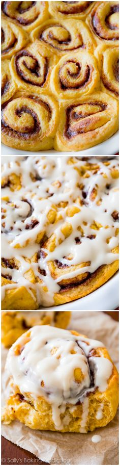 Delicious Pumpkin Cinnamon Rolls made completely from scratch. A must make this fall season! Recipe by sallysbakingaddiction.com