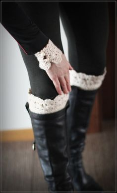 Crochet  Boot Socks and Arm Warmers set Crochet by HandfulCrafts, $25.00
