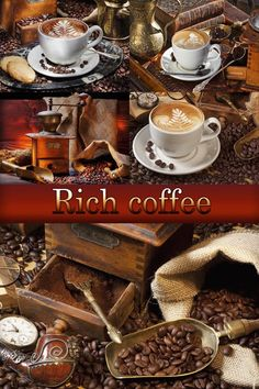 Coffee, coffee beans, a cup of coffee - Stock photos