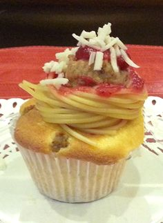 Muttballs and Spaghetti on top of a Pupcake. #Dog friendly recipe! #baking #dogs #diy