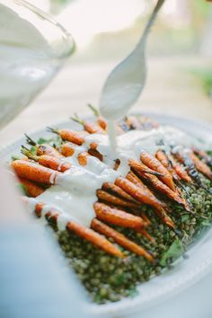 Grilled Carrots with Horseradish Yogurt Sauce over Lentils