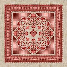 'Floral Heart' Danish cross stitch #embroidery design.