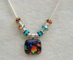 Multicolored dichoric glass pendant necklace by LittleGemsandMore, $40.00