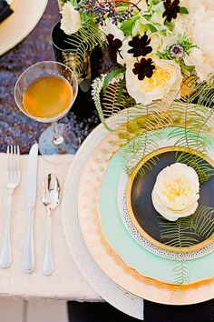 Art Deco Table Setting for a dinner party would be grand.   Via www.100layercake.com