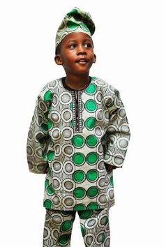 Baby Boy Looking Good in Green and Black Ankara